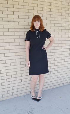 SOLD 60s black dress with rhinestones Butte Knit