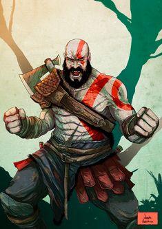Kratos - God of War, Vicente Valentine Egypt Concept Art, Kratos God Of War, Geeks, Hq Marvel, Greek Gods, Batman, Comic Character, Game Art, Comic Art