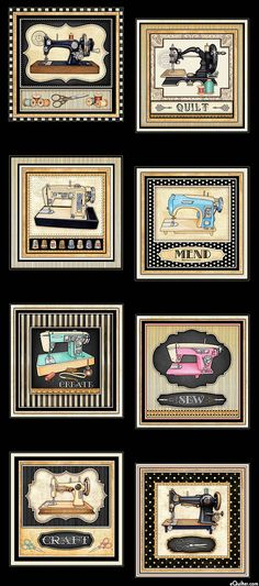 "Thimble Pleasures - Sewing Machines - Black - 24"" x 44"" PANEL"