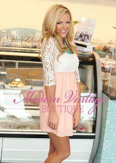 Modern Vintage Boutique - Light Peach Lovely Lace Floral Dress, $52.00
