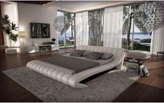 minimalist bedroom can be created using a unique interior and choosing the right color. Define the concept or theme bedroom, interior and design. Leather Platform Bed, Modern Platform Bed, Leather Bed, Grey Leather, Leather Sofas, Platform Beds, Modern Bedroom Furniture, Modern Bedroom Design, Furniture Design
