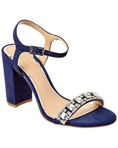 Jewel Badgley Mischka Womens Hendricks Heeled Sandal Navy 9 Medium US -- You can find out more details at the link of the image. (This is an affiliate link) Ankle Strap Sandals, Heeled Sandals, Badgley Mischka, Open Toe, Special Occasion, Jewels, Stuff To Buy, Shoes, Women