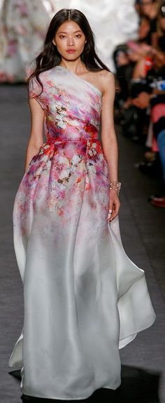 Naeem Khan Spring 2015 RTW. love the watercolor floral waist cinched and white silk satin perfection of this gown