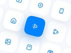 Blue Icon Set by Erşad Başbağ for Blue on Dribbble App Design, Branding Design, Logo Design, Graphic Design, Flat Design Icons, Icon Design, Identity, Flower App, Apple Icon