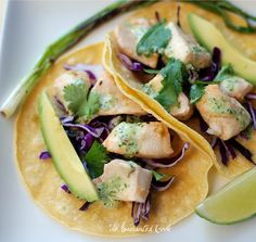 Fish Tacos with (not too heavy) Lime Cilantro Dressing