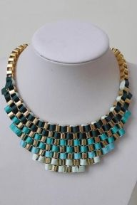 Colored Ribbon Embellished Cubic Necklace