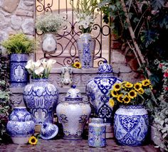 Use Talavera Tiles as a backdrop to our Mexican ceramic vases!