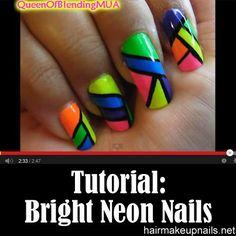 Bright Neon Nails Tutorial ►► http://www.hairmakeupnails.net/bright-neon-nails-tutorial/?i=p