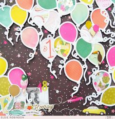Birthday Scrapbook Layouts, Scrapbook Page Layouts, Baby Scrapbook, Scrapbook Paper Crafts, Scrapbook Cards, Party Layout, Cutting Files, Balloons, Etsy