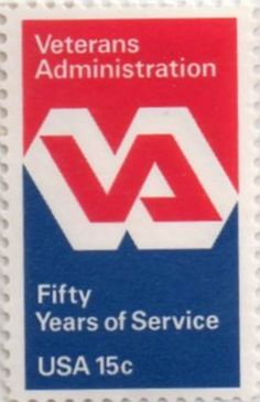 US postage stamp, 15 cent.  Veterans Administration, Fifty Years of Service.  Issued 1980.  Scott catalog 1825.