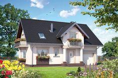 Projekt domu z poddaszem o pow. 153 m2 z garażem 1-st., z dachem dwuspadowym, z tarasem, z wykuszem, sprawdź! Home Fashion, House Plans, Villa, New Homes, Exterior, House Design, Mansions, Architecture, House Styles