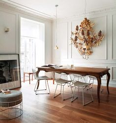 Copy Cat Chic: Bertoia Side Chair Part 2 with traditional table Dining Room Design, Dining Room Table, Wood Table, Dining Area, Dining Sets, Dining Chairs, Room Chairs, Dining Rooms, Eames Chairs