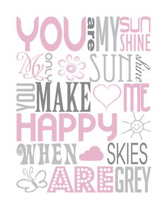 you are my sunshine typography print baby shower gift by PinkeeArt