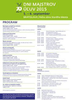 Program festivalu Dni Majstrov 2015 | ÚĽUV - Ústredie ľudovej umeleckej výroby