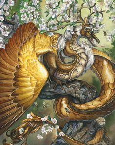 Apis - Fantasy Gold Bee Wyvern Dragon with Flowers Print