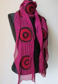 Nuno Felted  Scarf in Merino wool  hand dyed  silk by IonaLoyola, $88.00