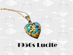 1950s Black Heart Pendant, Vintage Confetti Glitter Lucite Heart Choker Necklace, Romantic Mid Century Retro Jewelry Gift with Atomic Vibe Heart Choker, Heart Pendant Necklace, Vintage Silver, 50s Vintage, Black Heart, Confetti, Jewelry Gifts, Chokers, Retro