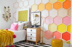 honeycomb rainbow wall art