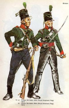 1) 5th Bataillon, 60th royal american regt 1812 2) Officier 5th Battaillon, 60th royal american Regt 1814