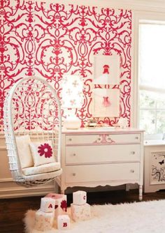 Designer: Patricia Halpin Interiors  Amazing use of wallpaper in an otherwise all white room.