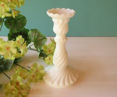 Vintage McKee Milk Glass Candle Holder