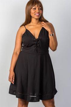 d20dc801a3717 Ladies Fashion Plus Size Lace Up Midi Dress  fashion  clothing  shoes   accessories