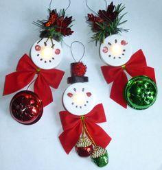 LED Tealight Candle Snowman Christmas by LittleBrownWorkshop, $12.00