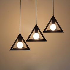 Single Head Lamps And Lanterns Of Creative Loft Pendant Light Personality Bar Staircase Lamp Iron Triangle Droplight
