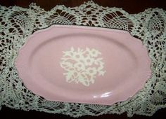 Rose colored Cameoware platter by cafecotton on Etsy, $20.00