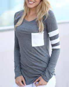 Charming Scoop Neck Color Block Striped Sleeve T-Shirt For Women T-Shirts | RoseGal.com