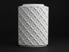 White bisque porcelain vase by AK Kaiser from the 70s. Abstract op art design…