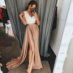 Dressestime.com offers high quality A-Line V-Neck Brown Elastic Satin Prom Dress with Split Lace, Only $119.99. We have more styles for Prom Dresses.