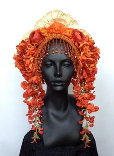 MADE TO ORDER  Flower Headdress with Beaded Trim