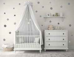 NEW Baby Nursery Wall Decals Gray Grey Polka dots by DesignByMaya