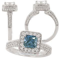 18k Chatham 5.5mm princess cut alexandrite engagement ring with natural diamond halo