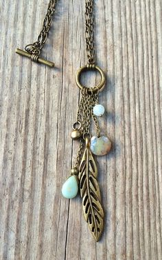 Long Boho Necklace Antiqued Brass Feather by RusticaJewelry