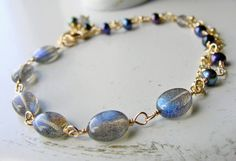 Labradorite Bracelet Wire Wrapped Pearl Bracelet by beachjewels72