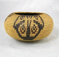 Mono Lake Paiute classic bowl shaped basket woven of willow, red bud and bulrush coiled over a three rod foundation.