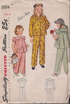 VTG 40s UNCUT Girls Two-Piece Pajamas Simplicity 2054 Sewing Pattern Size 6