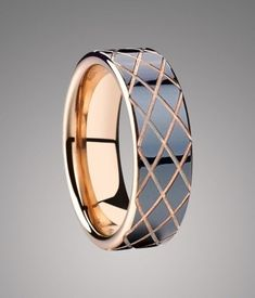 Criss-Cross Black Ceramic Wedding Band with Rose Gold Plating - Ceramic Rings Tungsten Wedding Bands, Wedding Ring Bands, Tungsten Rings, Tungsten Carbide, Smart Ring, Engagement Rings Couple, Gents Ring, Expensive Jewelry, 3d Max