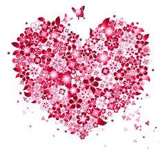 Pink flower heart with butterflies