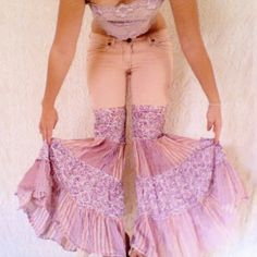 Upcycled Clothing - Pink Pants - One of a Kind Reconstructed Pink Bell Bottom Flare Hippie Jeans - Size 4