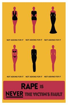 "Rape is never the victim's fault. No one ""asks"" to get raped, it just happens. A women should be able to wear whatever she wants without being judged. Rapist are the only cause of rape and their are no other factors that add to that. Evil people are simply looking for an excuse to make rape acceptable."