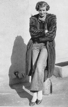 Katharine Hepburn on the RKO lot, c. 1932.