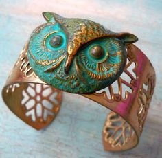 Patina Owl Gold Filigree Cuff Bangle Bracelet @shannon