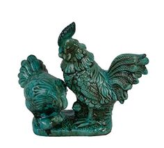 """Sculpture: Firefly Home Collection Ceramic Rooster And Hen Sculpture 10.5 X 4.25 X 8.5"""""""" Turquoise"""