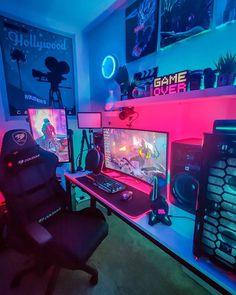 Gaming Desk Setup, Computer Gaming Room, Best Gaming Setup, Gamer Setup, Bedroom Setup, Room Ideas Bedroom, Best Pc Setup, Gamer Room, Pc Gamer