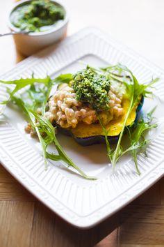 Feasting at Home : Acorn Squash w/ Farro Risotto and Radish Top Pesto