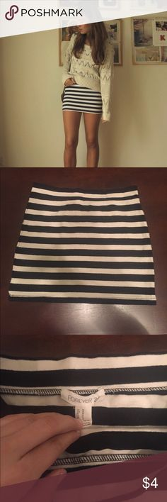Forever 21 Striped Mini Skirt Jersey stretch mini skirt in thick black and white stripes. 20% bundle discount! Forever 21 Skirts Mini