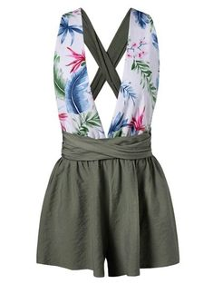 SHARE & Get it FREE | Leaf Plunging Back Criss Cross Romper - Green SFor Fashion Lovers only:80,000+ Items • New Arrivals Daily Join Zaful: Get YOUR $50 NOW!